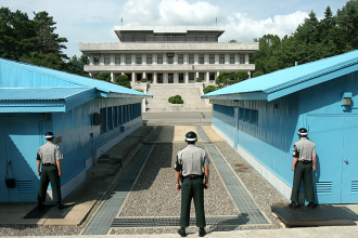 "The ""De-Militarized Zone"" dividing Korea"