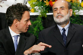 Federal Reserve Chairman Ben Bernanke with Timothy Geithner, then president of the New York Fed, at the Economic Club of New York in October 15, 2008.