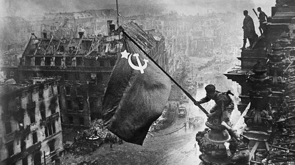Soviet flag flies above the German Reichstag, May 2, 1945. More than 27 million Soviets were killed in World War II.