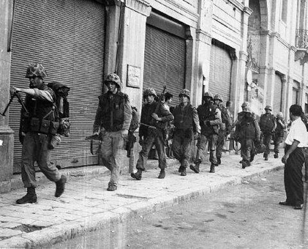 US marines on the streets of Beirut the following day of Iraq's 1958 revolution