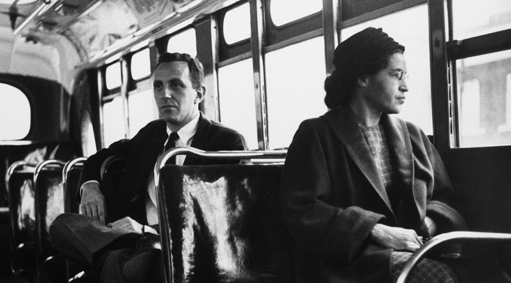 The Montgomery bus boycott began in 1955 when Rosa Parks refused to give up her seat.