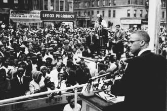 Malcolm X speaks in Harlem, 1963