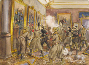 "The storming of the Winter Palace in St. Petersburg led to real self-determination for many oppressed nationalities in Russia. Art by Ivan Vladimirov, ""The Pogrom of the Winter Palace"" (c. 1917)"