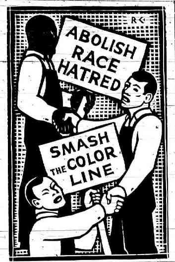 Communist Party cartoon from 1936. During this period, the CPUSA's anti-racist militancy stood apart from nearly all other organizations with white members in U.S. society.