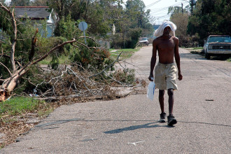 In the aftermath of Hurricane Katrina, thousands had to fend for themselves to find water, food and ice.