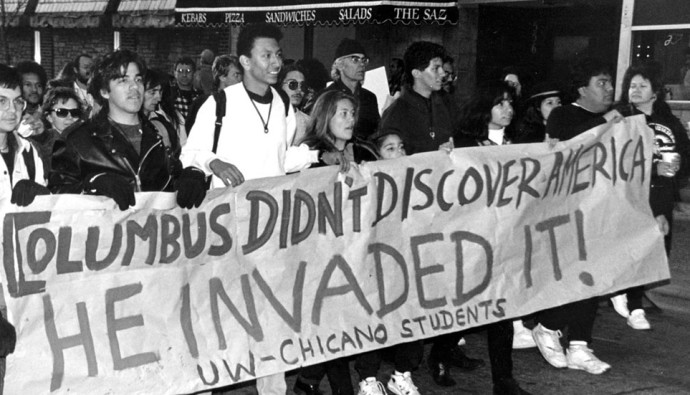 University of Wisconsin students march on the 500-year anniversary of Columbus's invasion (Image via UW - Madison Library Archives)