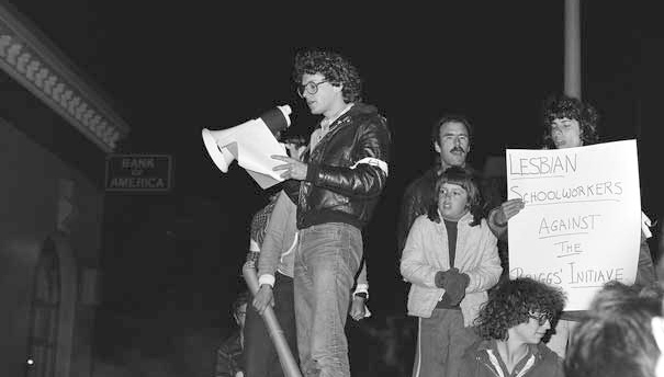 Lesbian schoolbus workers protest a 1978 initiative banning LGBT people from public schools.