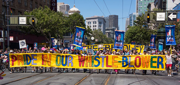 A huge contingent praising Chelsea Manning took to the streets for SF Pride in 2013.