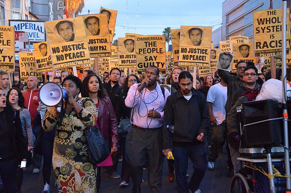 Protesting in the streets of San Francisco the night of the acquittal of George Zimmerman.