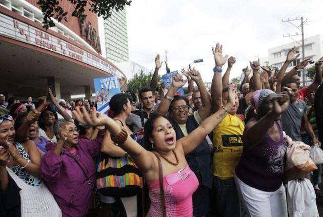 Cubans in Havana celebrate release of Cuban 5, Dec. 17, 2014
