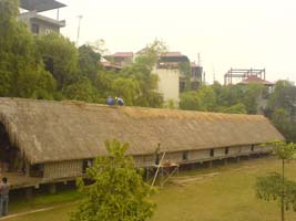 Communal living in pre-class society reflected collective economic relationships. Here, a Vietnamese long house