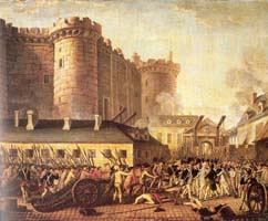 The storming of the hated Bastille Prison during the French Revolution.