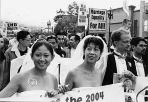 Under capitalism, every social gain for LGBT people is under attack. Here, supporters of same-sex marriage, San Francisco, May 17, 2004  Photo: Bill Hackwell