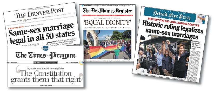 Selected newspaper responses to the same-sex marriage ruling