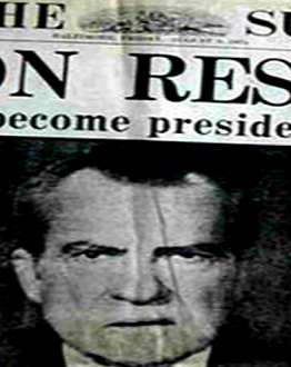 """Cover of The Sun with the headline, """"Nixon Resigns"""""""