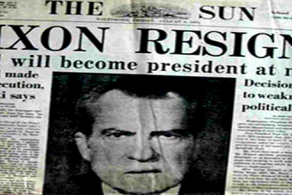 "Cover of The Sun with the headline, ""Nixon Resigns"""