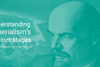 "Picture of Lenin, with the text ""Undersanding Imperialism's distinct stages"""