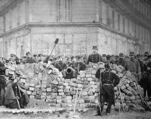 Paris Commune barricade, April 1871. Source: Wikicommons.