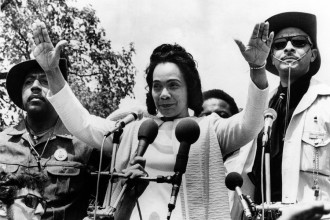 Coretta Scott King speaks at protest opposing the  Vietnam War