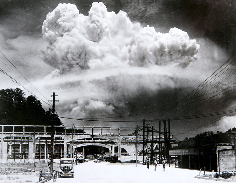 Nuclear cloud over Nagasaki, August 9, 1945.