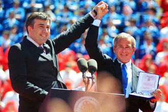 George W. Bush celebrating in Georgia with then President Misha Saakashvili