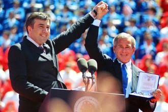 George W. Bush celebrating in Georgia with then President Misha Saakashvili