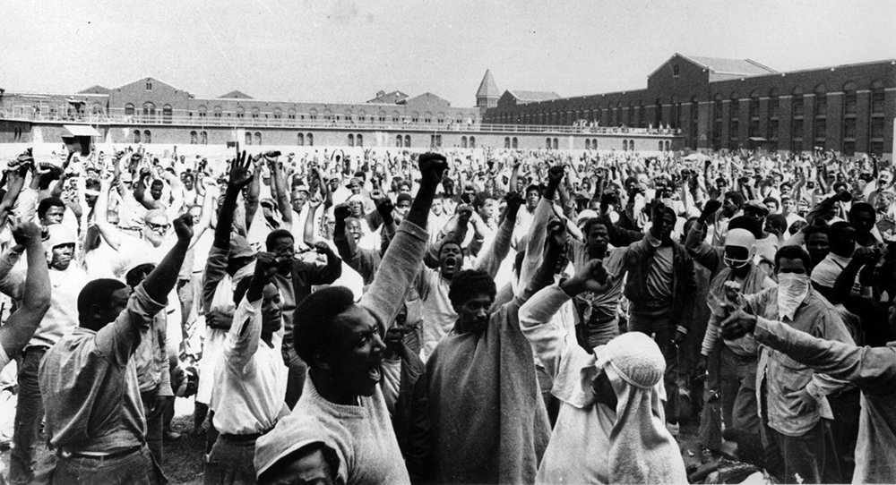 In a revolutionary act, Attica prisoners took over the facility and made class conscious demands. This photo was taken in the prison yard during the uprising.