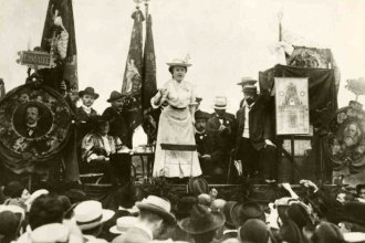 Rosa Luxemburg addresses a crowd in Stuttgart, during the Congress of the Socialist International, 1907.