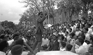 "Stokely Carmichael, national head of the SNCC speaks about the meaning of ""Black Power"" on the campus of Florida A&M University, April 16, 1967, in Tallahassee, Florida."