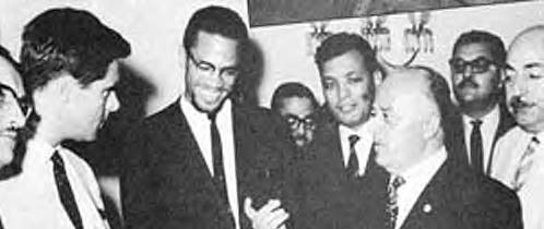 Malcolm X with early leaders of the Palestine Liberation Organization