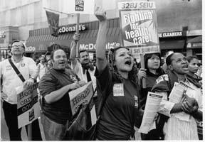 photo: Bill Hackwell, labor rally RNC, 8/31/04