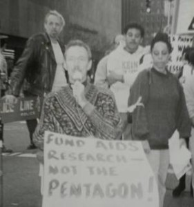 Preston Wood speaking at a rally in the 1980s