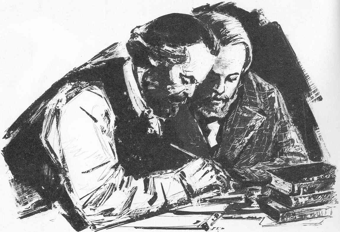 Marx and Engels studying