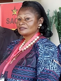 Justine Assango espe Tadjo, National President of the Federation Nationale Des Travilleurs De La Communication et Des Postes,  the postal and communications union in Cameroon.
