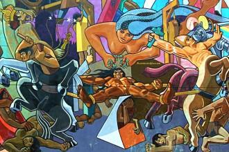 Tupac Amaru II mural by Juan Bravo in Cuzco, Peru