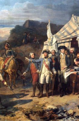 George Washington, who owned 317 slaves when he died, gives directives before the Battle of Yorktown in the U.S. Revolutionary War.