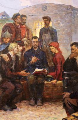 Romanian workers studying. Source: Tiraspol History Museum. Photo: Liberation School.
