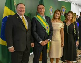 Jair and Michelle de Paula Firmo Reinaldo pose with Mike and Susan Pompeo in Brazil on Jan. 1, 2019. Source: Public Domain.