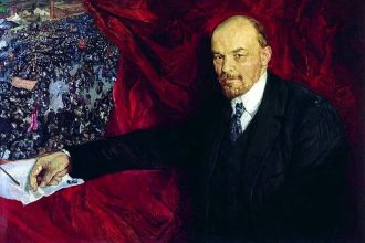 Lenin and manifestation by Isaak Brodsky. Source: Wikicommons.