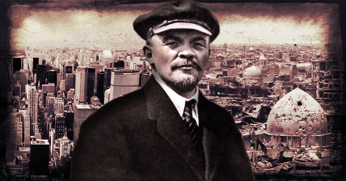 Illustration of V.I. Lenin set against Reuters photos of New York City, and Mosul in ruins. | Photo: Elliott Gabriel / teleSUR