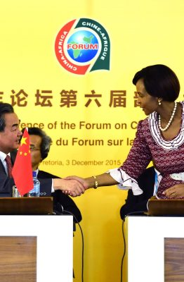 The former South African Minister of International Relations and Cooperation, Maite Nkoana-Mashabane, shaking hands with Mr Wang Yi, Minister of Foreign Affairs of the People's Republic of China,  after giving opening remarks on the occasion of the Opening Ceremony of the 6th Ministerial Meeting of the Forum on China-Africa Cooperation (FOCAC), 3nd December 2015, Pretoria, South Africa. Photo: DIRCO.